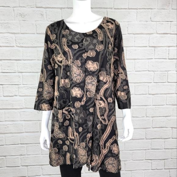 Comfy USA Tan/Blk Print Tunic Size:XL